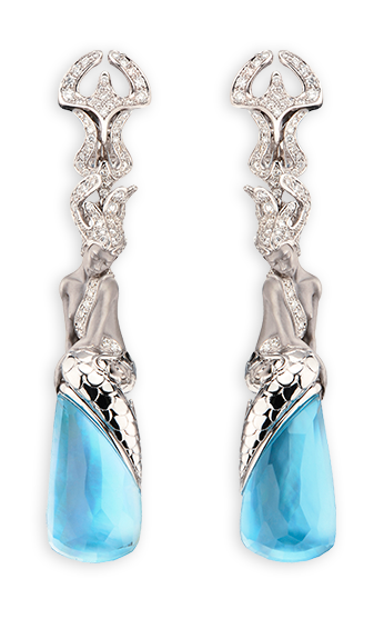 white gold, diamonds and blue topaz
