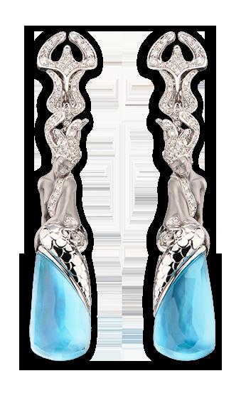 white gold, diamonds and blue topaz