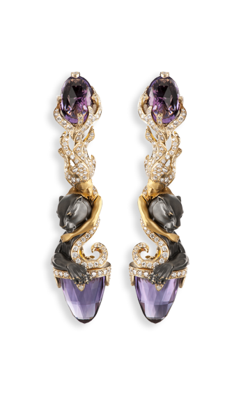 yellow gold, amethyst and diamond earrings