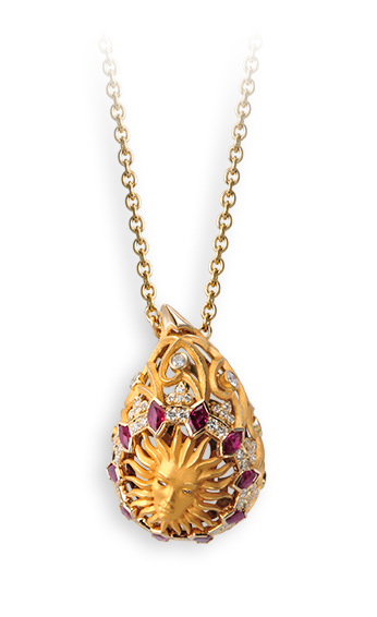 yellow gold, diamonds and rubies necklace